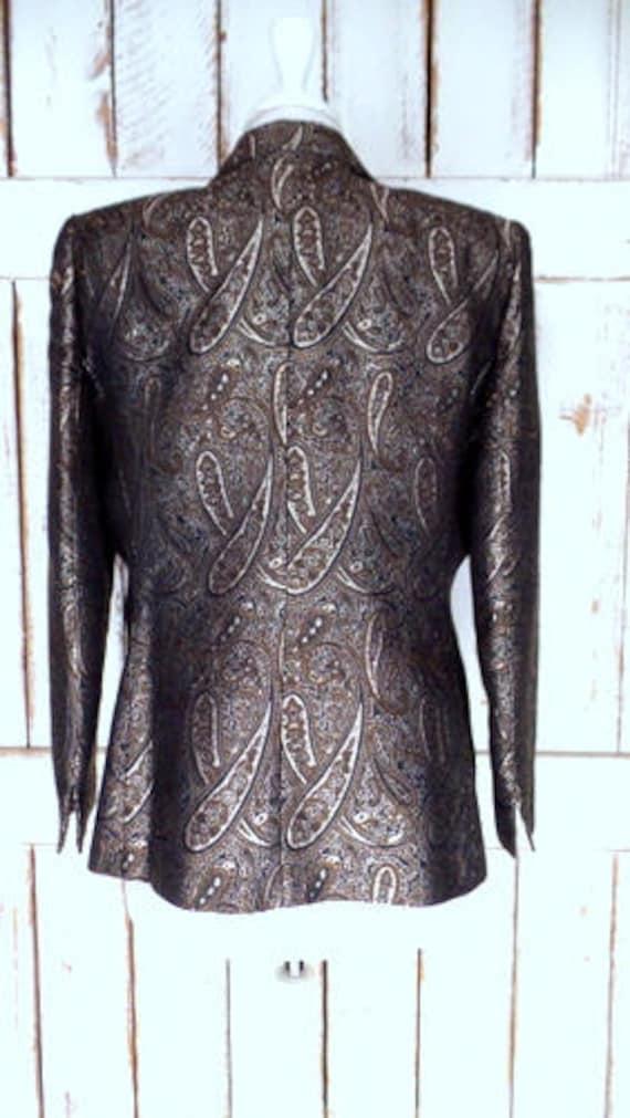 black tapestry tapestry Vintage 12 brown Kasper blazer gold petite paisley brocade jacket TqYaq
