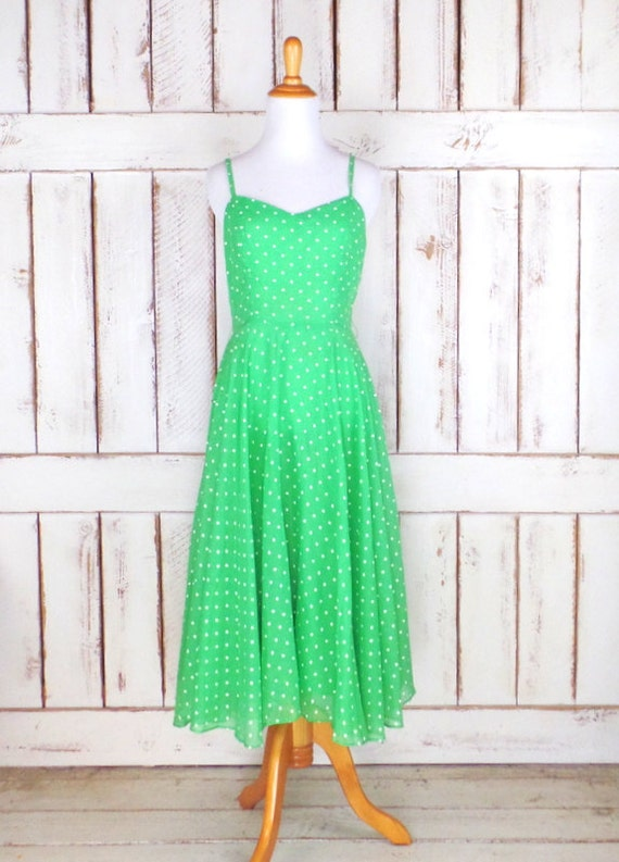Vintage Ned Gould green/white polka dot sun dress/