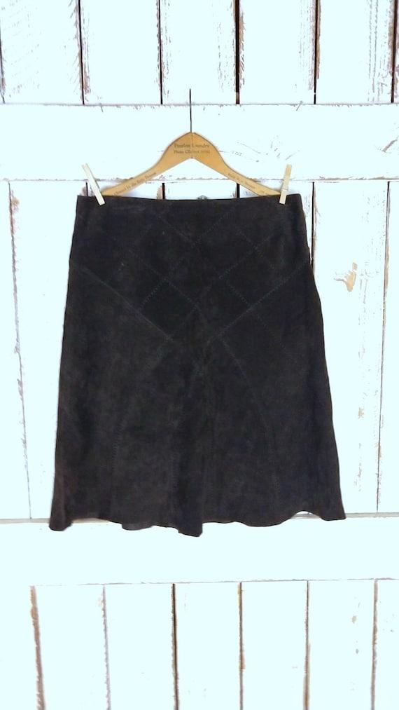 Vintage dark brown suede leather aline pencil skir