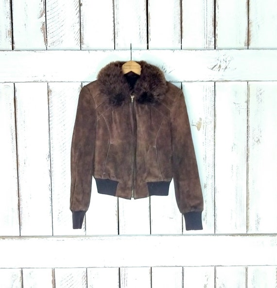 70s vintage brown suede leather fitted fur collar