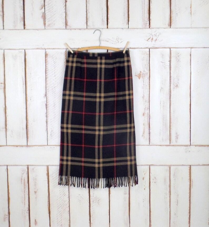 Blacktanred plaid woven fringe boho skirtlong fringe Tartan kilt blanket skirtmediumlarge