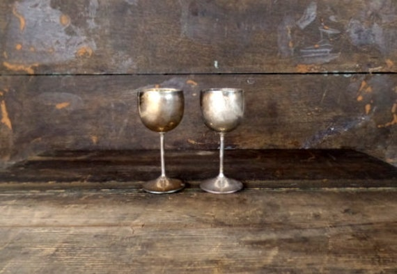 Vintage Small Rustic Primitive Silver Metal Wine Goblet Etsy