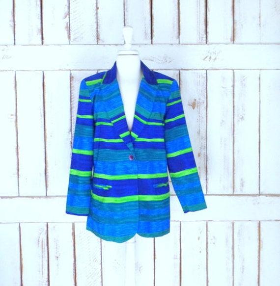 Vintage Michael Taylor blue/green striped blazer j