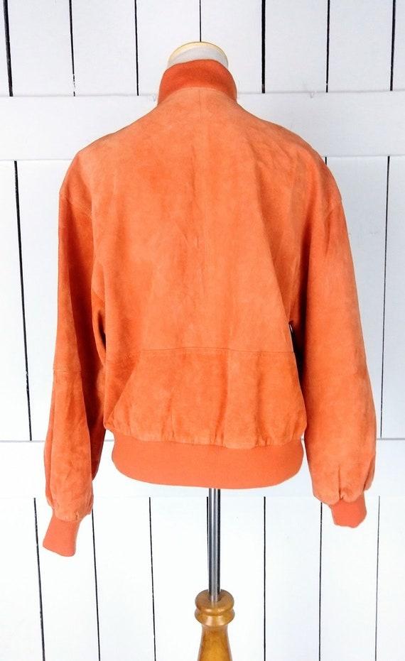 Vintage orange suede leather bomber jacket/small - image 4