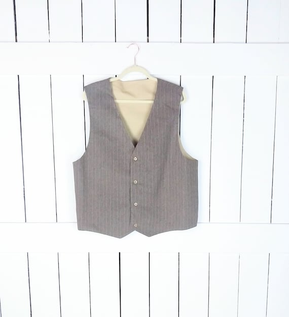 Vintage tan beige pin striped mens suit vest/forma