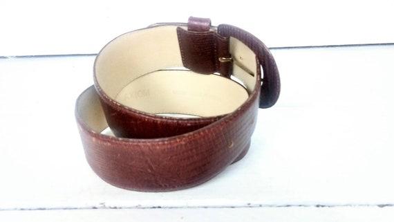80s wide brown leather alligator print belt/croc … - image 4