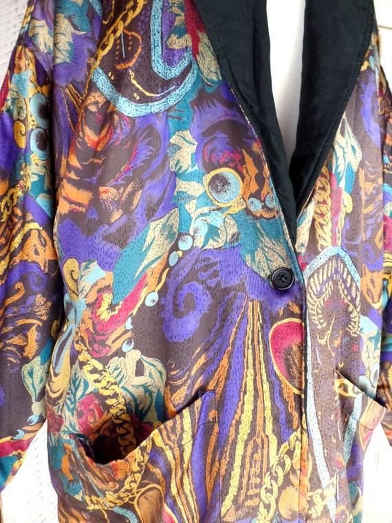 Vintage paisley floral silk oversized blazer jack… - image 3