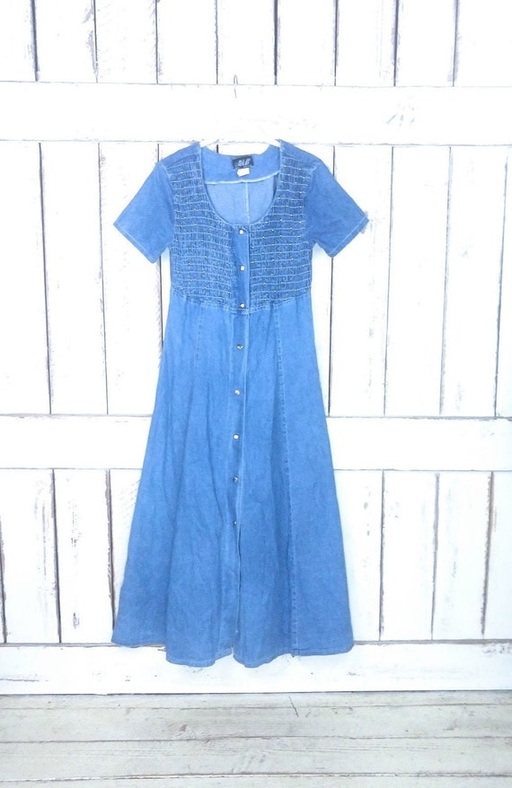90s vintage blue jean denim dress/button down shir