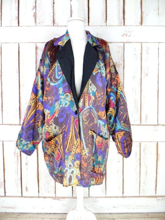 Vintage paisley floral silk oversized blazer jack… - image 5