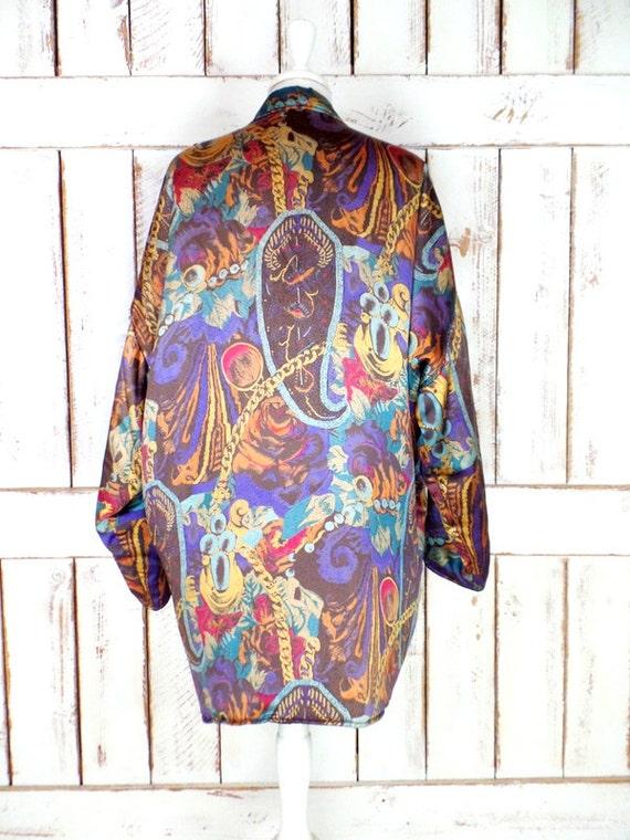 Vintage paisley floral silk oversized blazer jack… - image 4