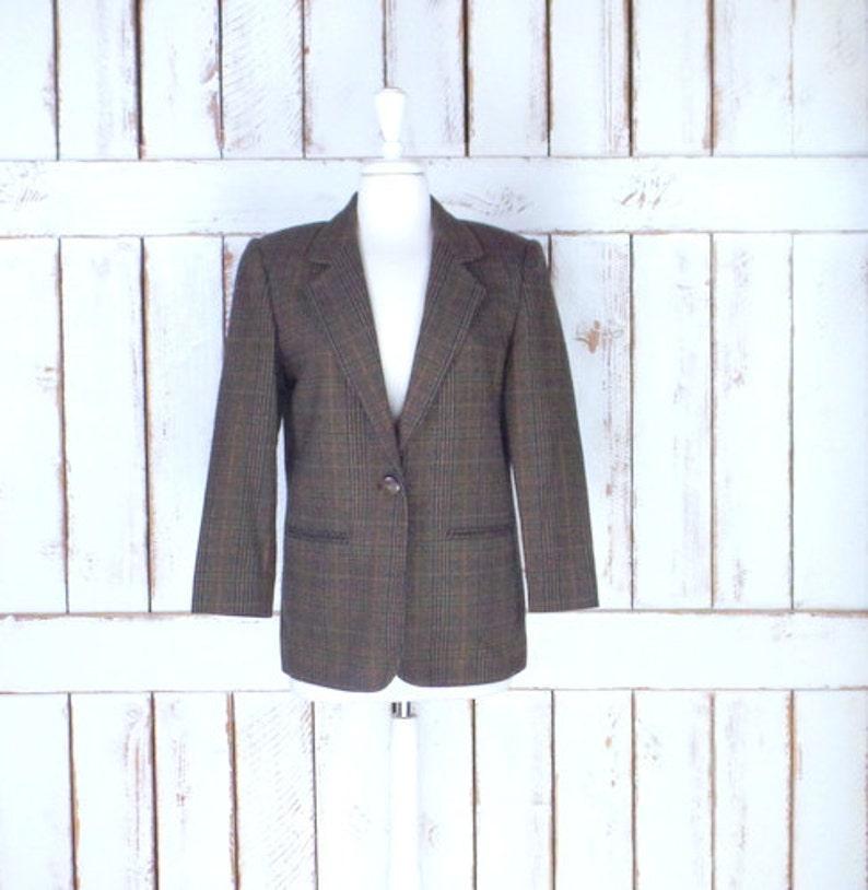 d035744a1 Vintage womens brown plaid mens style wool blazer/plaid twill wool  jacket/Prophecy by Sag Harbor/4 petite