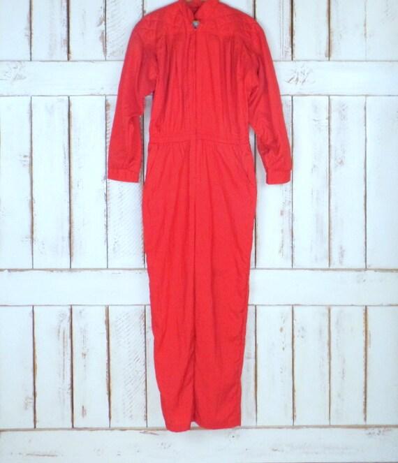 Vintage Saint Germain II Paris red nylon long slee