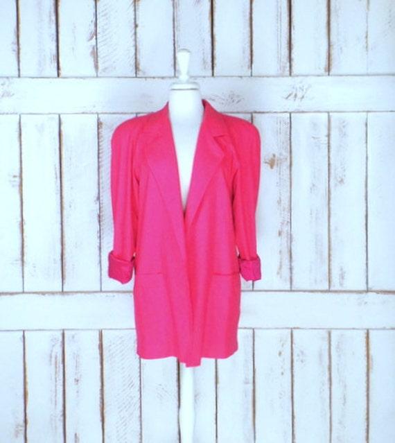 hot bright silk silk blazer 10 jacket jacket florescent 80s pink Georgiou Vintage neon pink Sfqx5gnS8