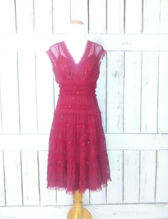 90s vintage red sheer lace mesh sequin baby doll m