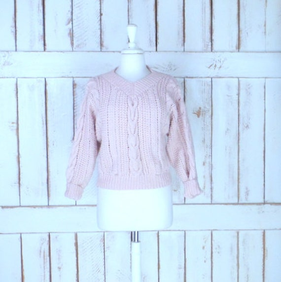 Light pink chunky cotton cable knit pullover cropp