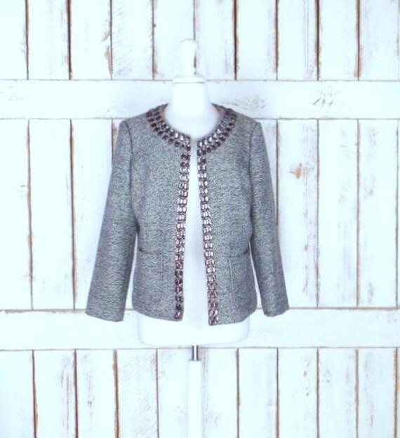 Vintage Dana Buchman brown tweed beaded blazer jac