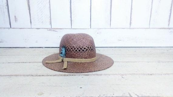 Vintage 90s brown natural straw summer fedora hat… - image 2