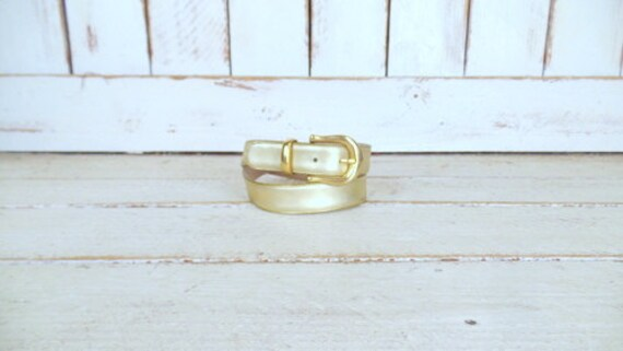 Vintage Capezio metallic gold leather belt/gold C… - image 1
