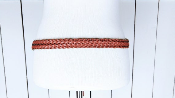 Vintage braided woven brown leather belt/boho/hip… - image 3