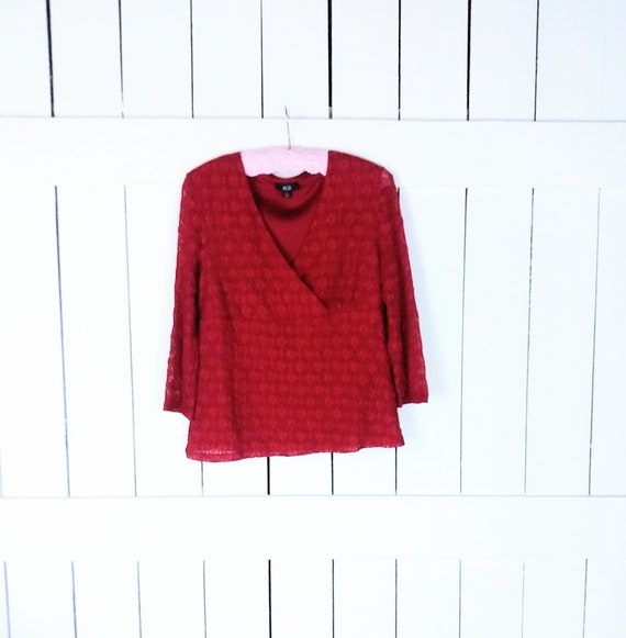 Vintage 90s red stretch lace vneck fitted top blou