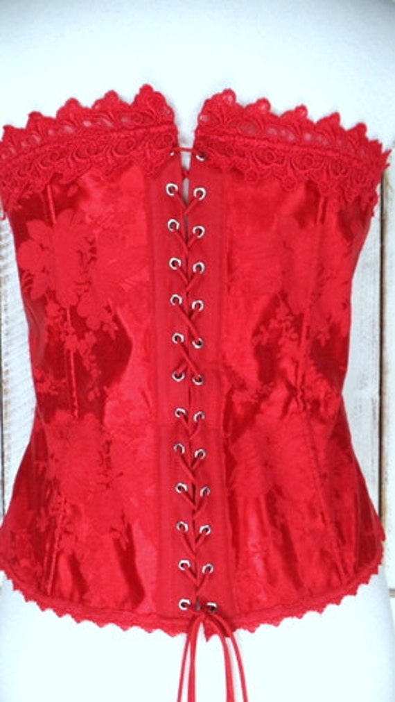 90s Fredericks of Hollywood vintage red floral sa… - image 3