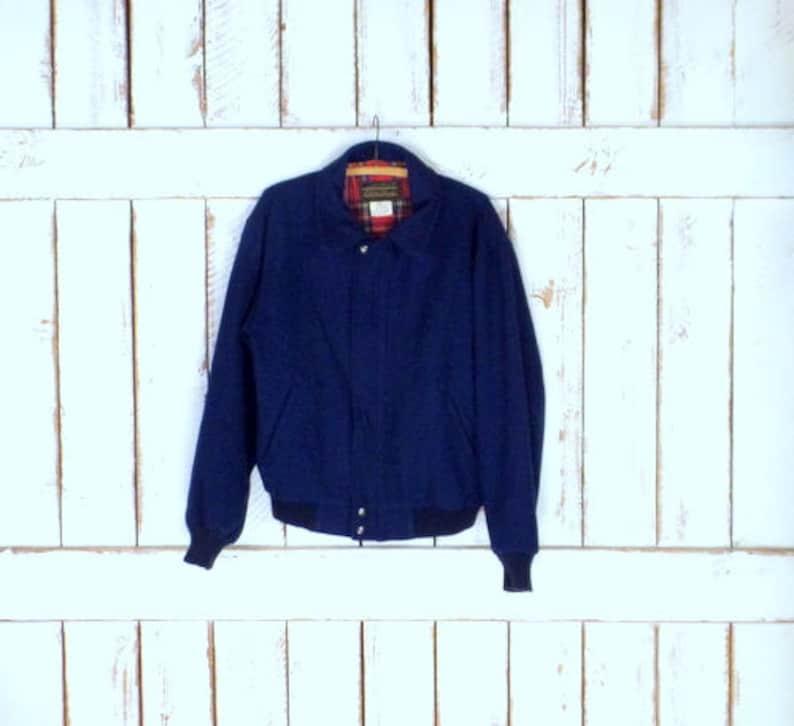 Mens vintage Eddie Bauer dark blue wool bomber jacketwool flight style jacketsmall