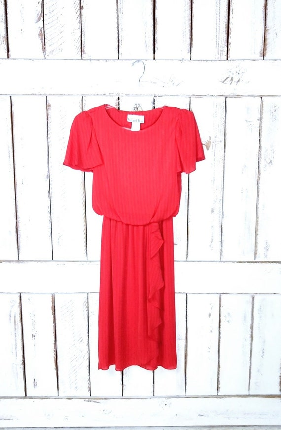 Vintage red striped sheer flutter sleeve midi dres