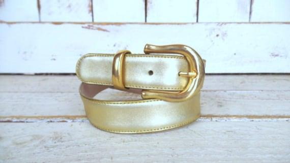 Vintage Capezio metallic gold leather belt/gold C… - image 2