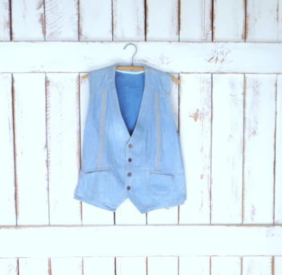 Vintage HIS light blue jean denim vest/chambray ve