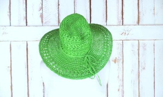 Vintage Scala green crochet woven straw knit flopp