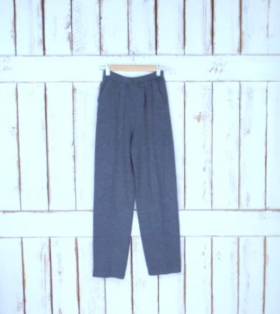Vintage 80s St. John grey knit pants/grey stretch… - image 1