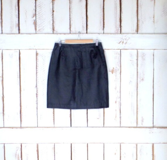 skirt knee high black midi skirt leather waisted skirt leather Vintage black 10 fitted length pencil qUxXZnRw
