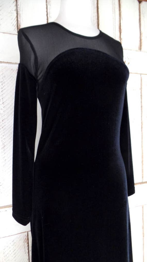 back net velvet maxi formal velvet dress black 90s evening black sleeve stretch dress long sheer Vintage velour long 0FqYwf