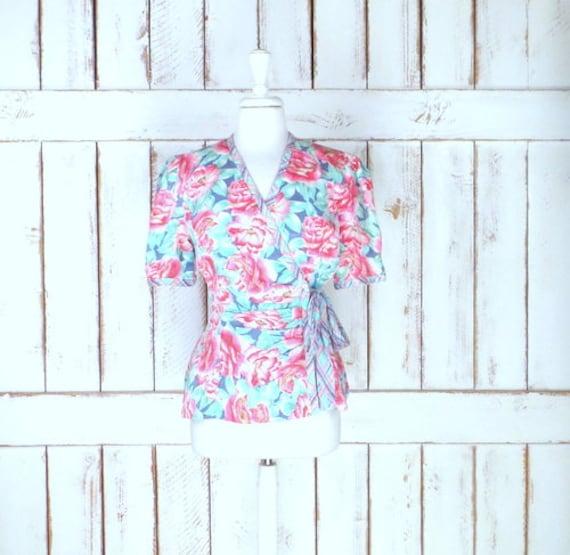 Vintage pink/blue floral silk short sleeve wrap b… - image 6