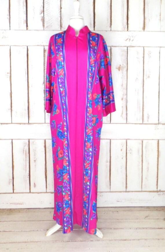 Vintage pink/purple floral muu muu caftan maxi dre