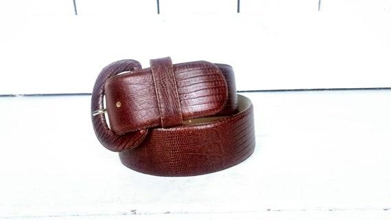 80s wide brown leather alligator print belt/croc … - image 3