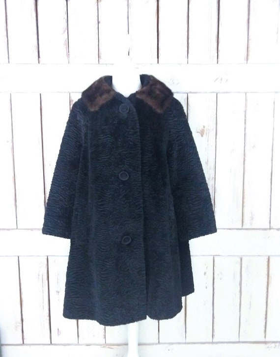 Vintage 60s black faux Persian lamb mink fur colla
