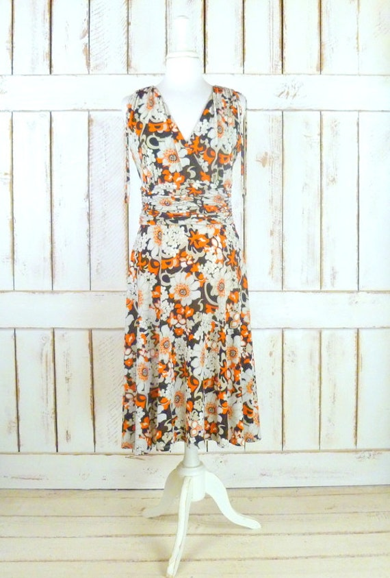 Orange/black floral sleeveless dress/midi floral d