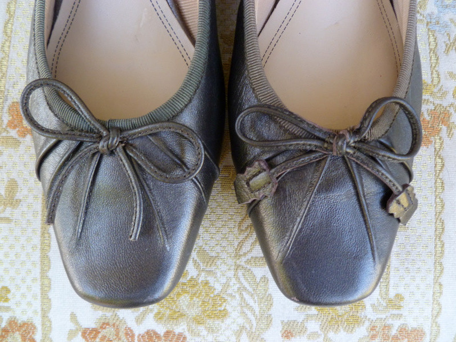 1960s vintage bronze leather ballet style shoes
