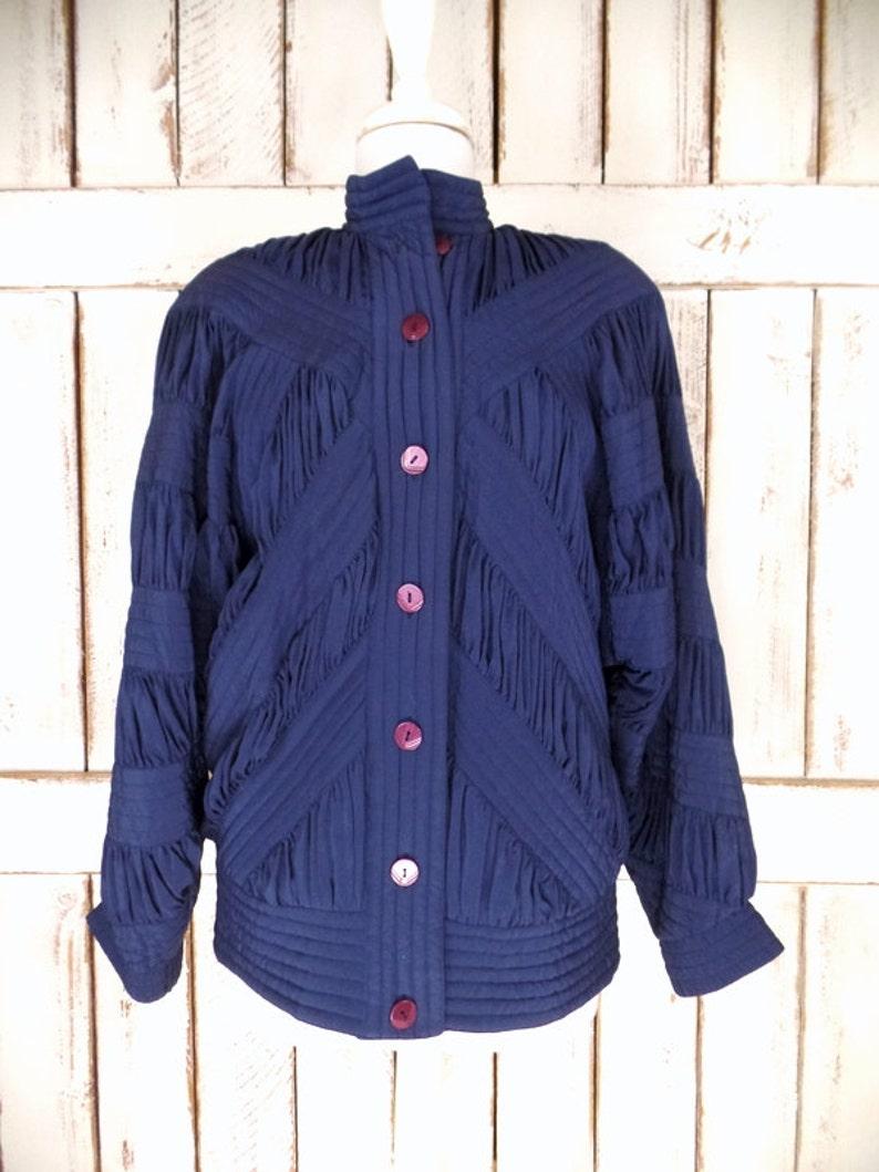 Vintage blue silk  windbreaker jogging puffer jacketsilk sports jacketblack puffy flight bomber jacketmedium