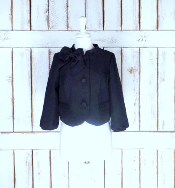 90s short black fitted blazer jacket/bow accent cr