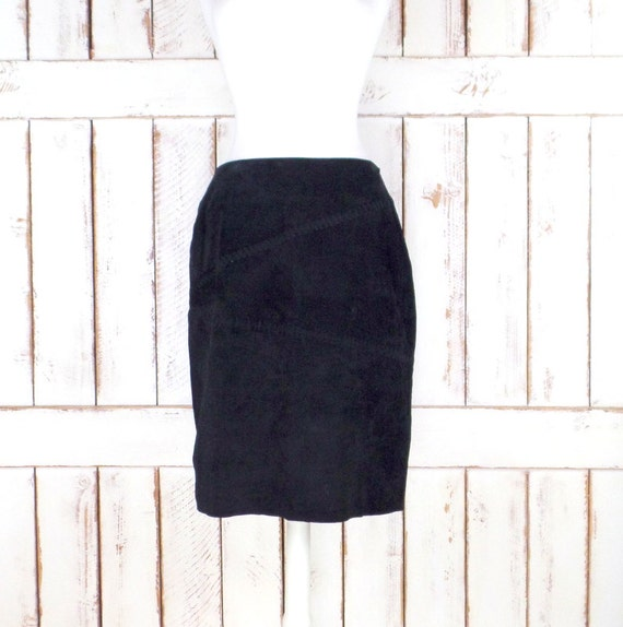 Vintage black suede leather fitted pencil skirt/hi