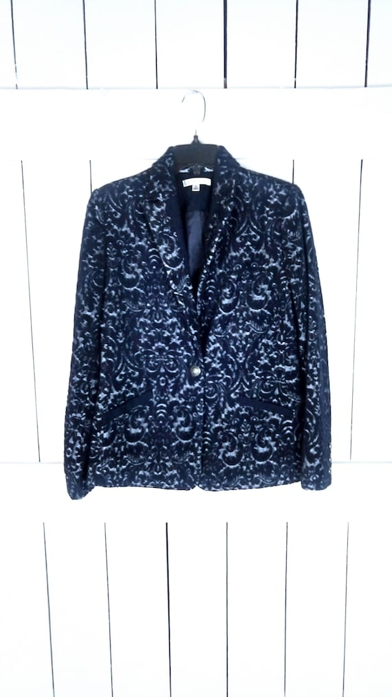 90s Cabi paisley floral wool felt fitted blazer/ta