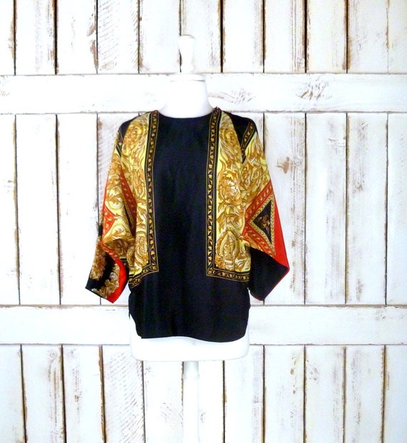 Vintage black/red/gold dolman sleeve scarf blouse/