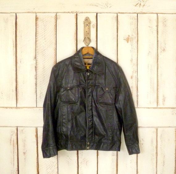 Distressed black leather vintage biker jacket/blac