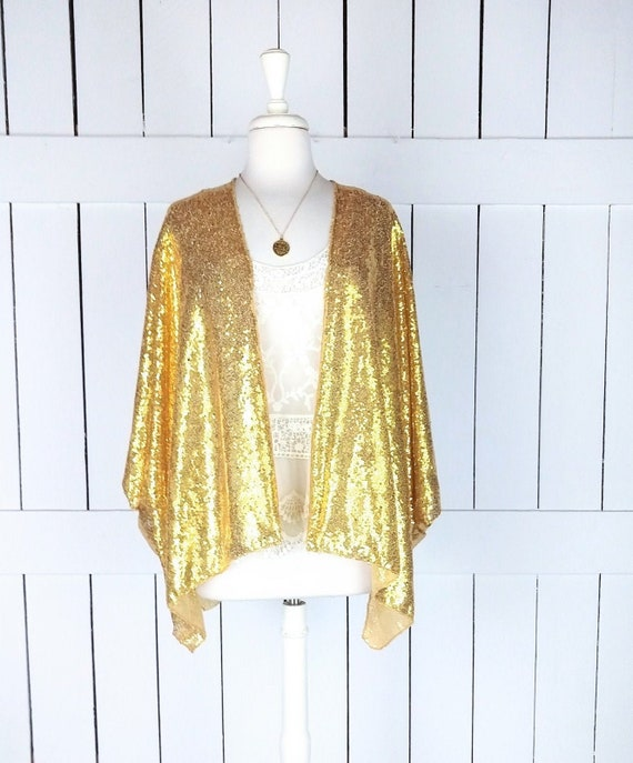 Gold sequin kimono cover up/short/cropped sequins