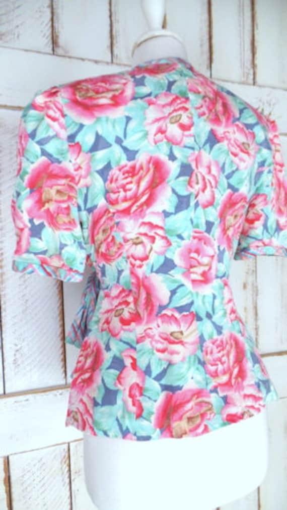 Vintage pink/blue floral silk short sleeve wrap b… - image 5