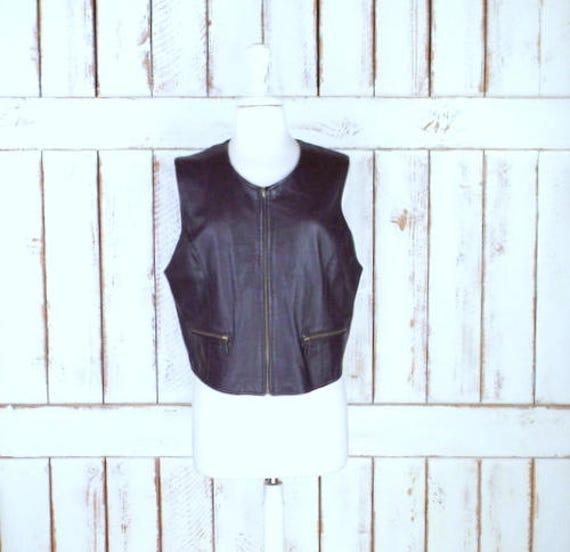 motorcycle stretch riding dark vest brown leather vest leather zipper 90s vest back vintage leather front SqP7P0