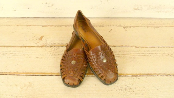 sandals woven sandals leather sandals leather brown Huarache Vintage 10 leather Zaqx1SaHn