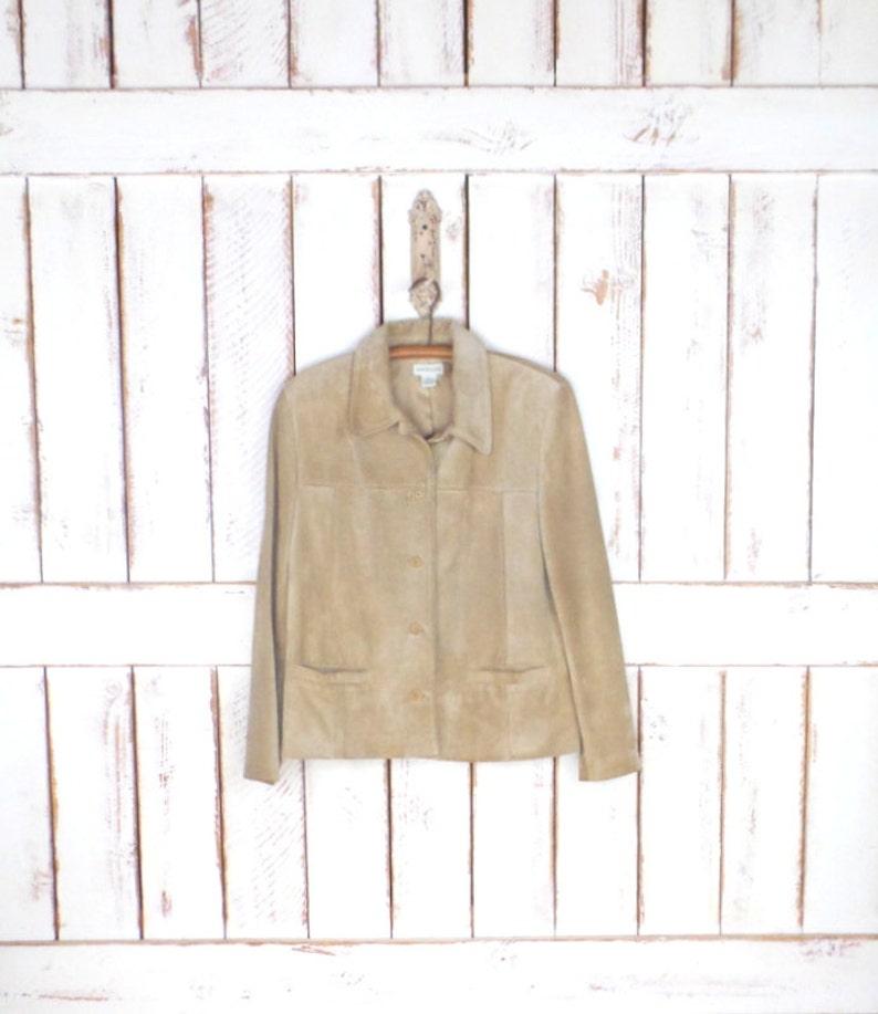 697ed75a49be0 Suede Tan brown/camel skóra vintage kurtka top/zamszu skórzane | Etsy